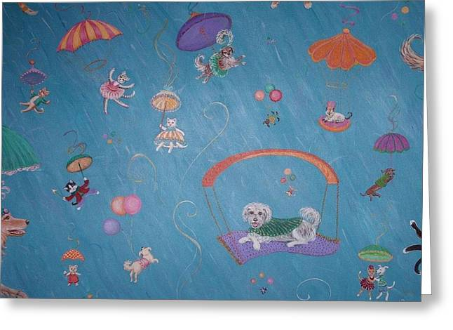 Raining Cats And Dogs Greeting Card