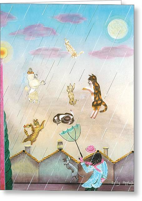 Raining Cats And Dogs Greeting Card by Sally Appleby