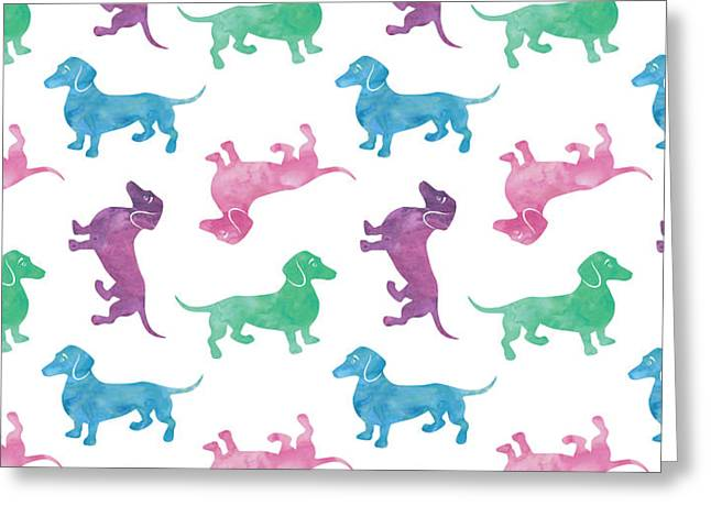 Raining Dachshunds Greeting Card by Antique Images