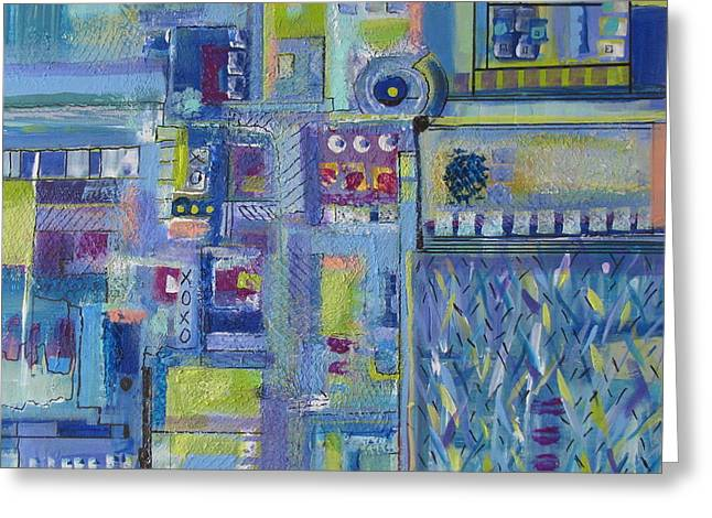 Raining In The City Greeting Card by Charli Leniston