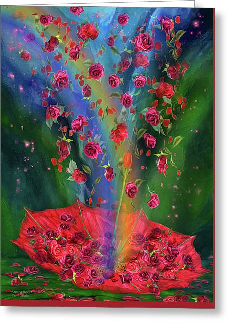 Raining Roses 2 Greeting Card by Carol Cavalaris