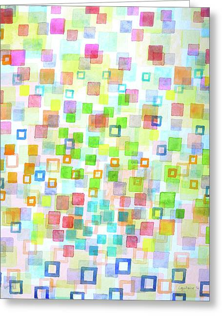Raining Squares And Frames Greeting Card by Heidi Capitaine