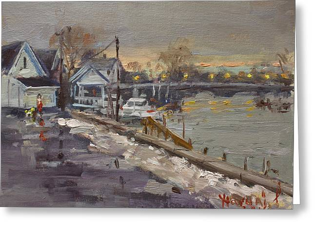 Rainy And Snowy Evening By Niagara River Greeting Card by Ylli Haruni