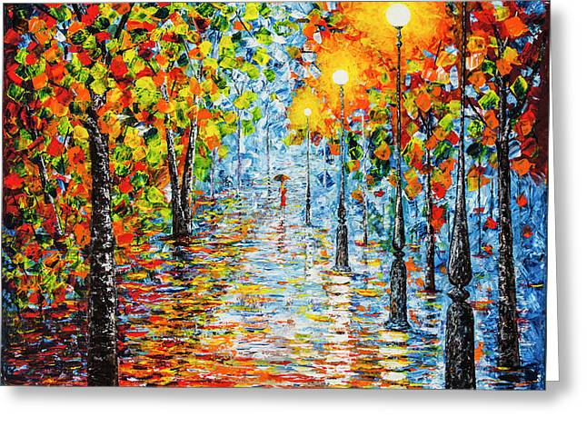 Greeting Card featuring the painting Rainy Autumn Evening In The Park Acrylic Palette Knife Painting by Georgeta Blanaru