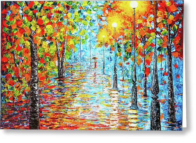 Greeting Card featuring the painting Rainy Autumn Evening In The Park Acylic Palette Knife Painting by Georgeta Blanaru