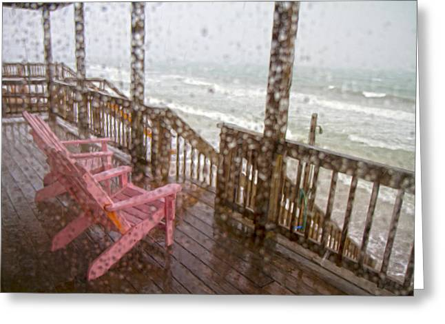 Topsail Island Greeting Cards - Rainy Beach Evening Greeting Card by Betsy C  Knapp
