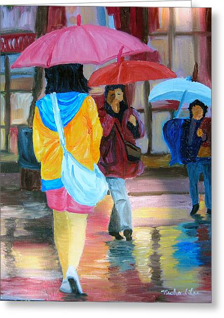 Rainy City Greeting Card by Michael Lee