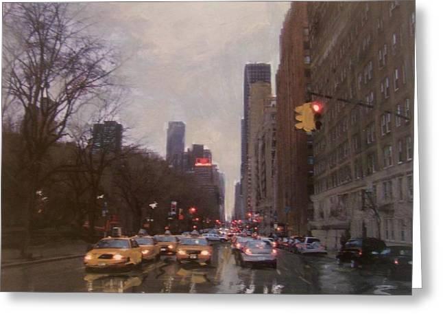 Rainy City Street Greeting Card by Anita Burgermeister