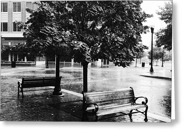 Rainy Day - A Moody Black And White Photograph Greeting Card
