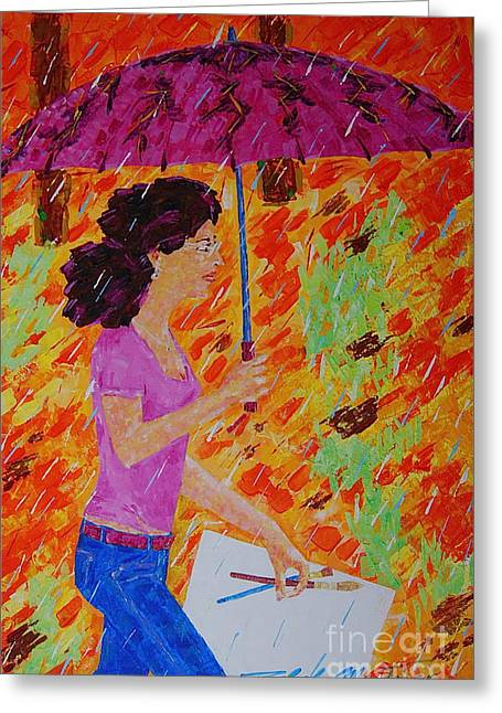 Rainy Day Artist Greeting Card