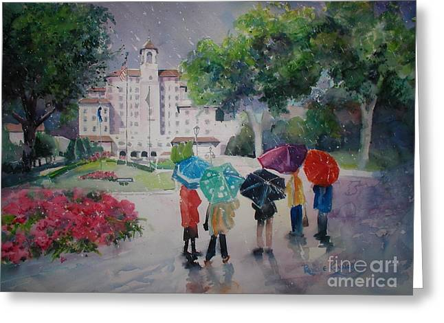 Rainy Day At The Broadmoor Hotel Greeting Card by Reveille Kennedy