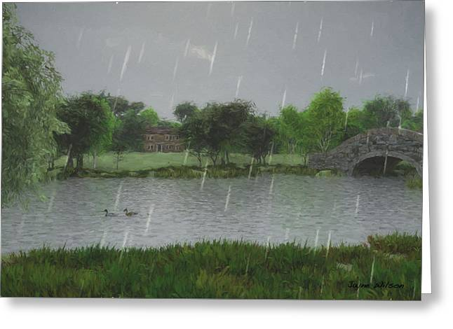 Rainy Day At The Lake Greeting Card by Jayne Wilson