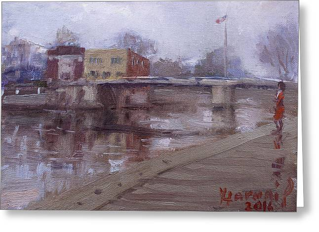 Rainy Day At Tonawanda Canal Greeting Card by Ylli Haruni