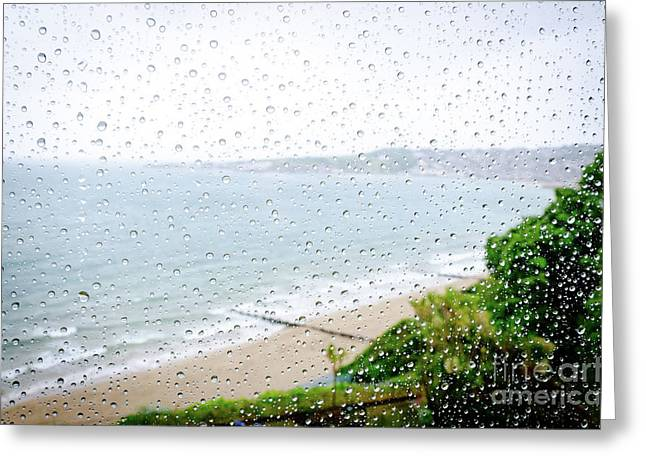 Rainy Day Beach Holiday Vacation Rain Indoors Window Seaside Greeting Card by Andy Smy