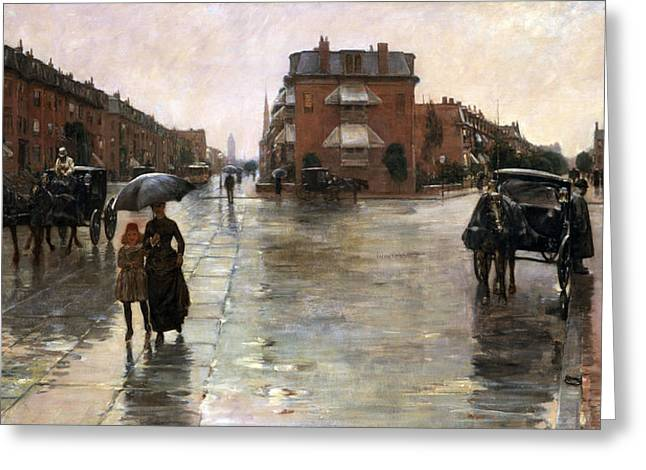 Greeting Card featuring the painting Rainy Day, Boston - 1885  by Frederick Childe Hassam