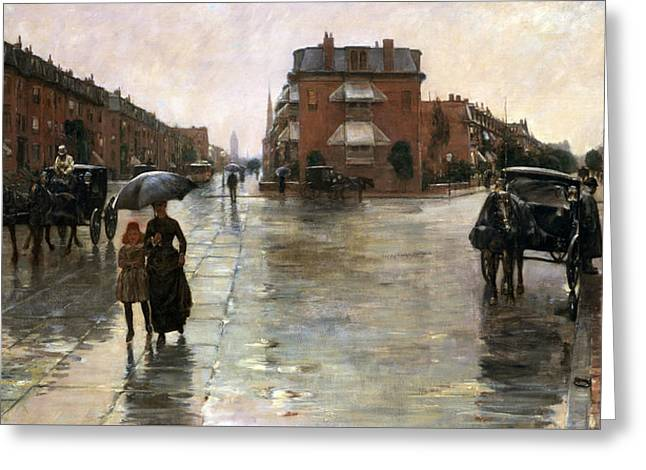 Rainy Day, Boston Greeting Card