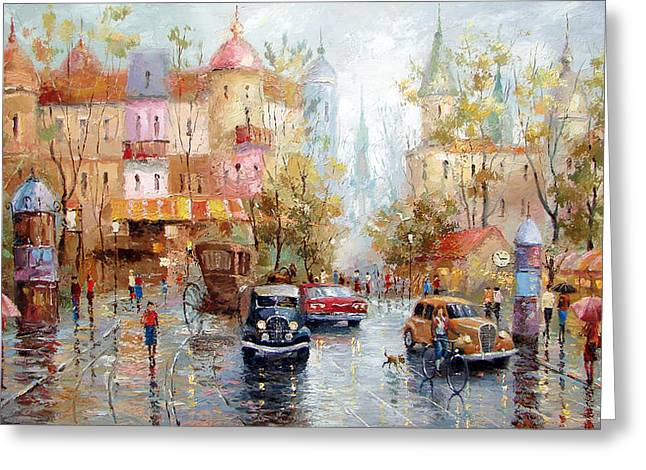 Greeting Card featuring the painting Rainy Day by Dmitry Spiros