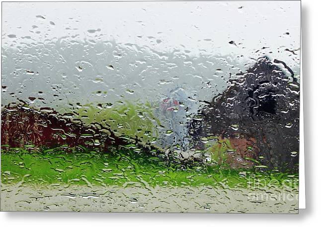 Rainy Day Farm Greeting Card by Alice Mainville