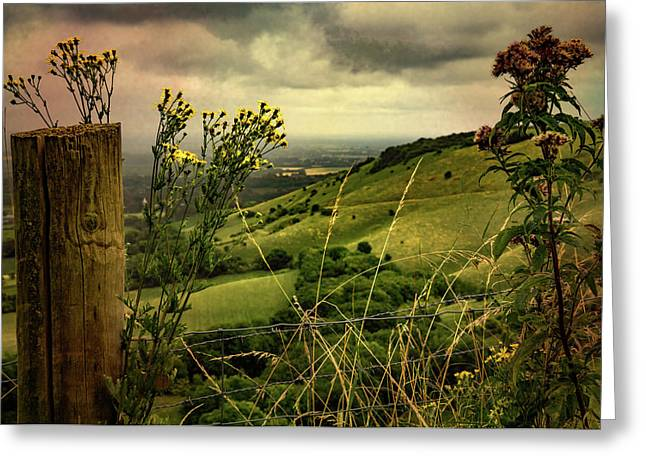 Greeting Card featuring the photograph Rainy Day Hilltop View On The South Downs by Chris Lord