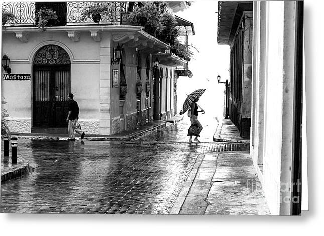 Rainy Day In Casco Viejo Greeting Card
