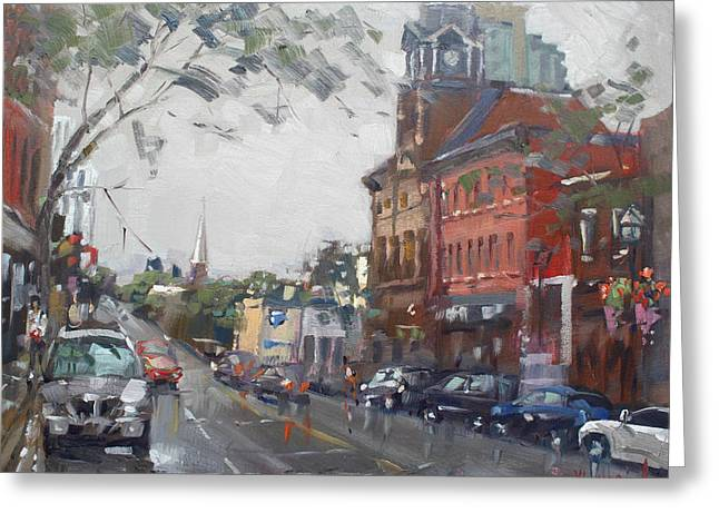Rainy Day In Downtown Brampton On Greeting Card