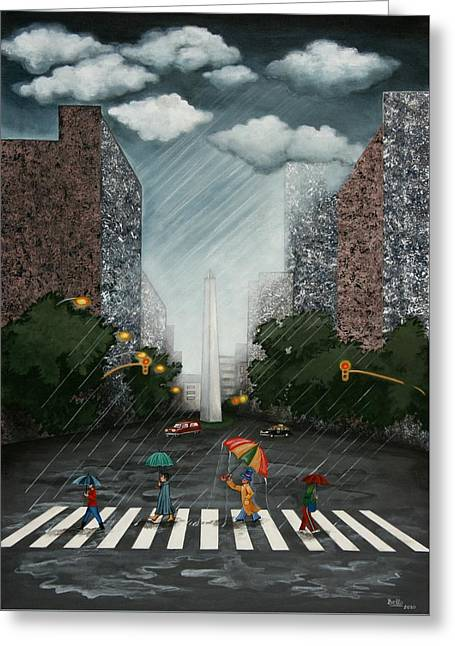 Rainy Day In Downtown Greeting Card by Graciela Bello