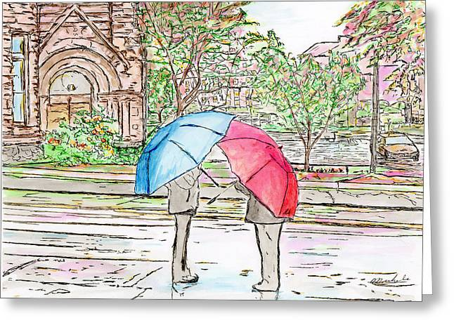Rainy Day In Downtown Worcester, Ma Greeting Card
