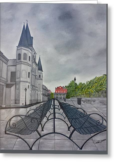 Rainy Day In Jackson Square Greeting Card