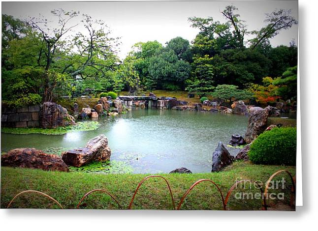 Rainy Day In Kyoto Palace Garden Greeting Card by Carol Groenen