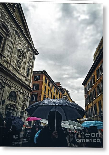 rainy day in Rome Greeting Card by HD Connelly