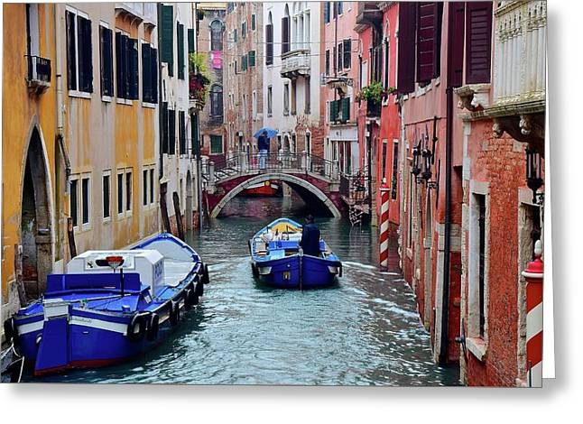 Rainy Day In Venezia Greeting Card by Frozen in Time Fine Art Photography