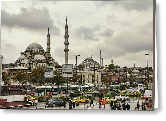 Rainy Day Istanbul Greeting Card by Phyllis Taylor