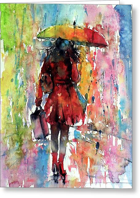 Greeting Card featuring the painting Rainy Day by Kovacs Anna Brigitta
