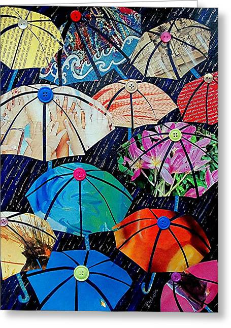 Rainy Day Personalities Greeting Card by Susan DeLain
