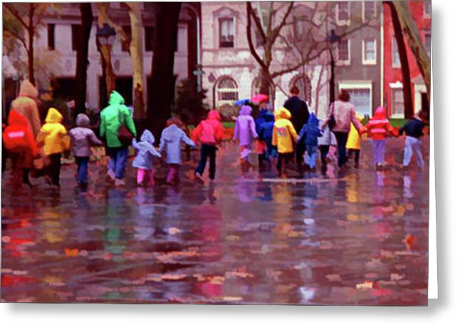 Rainy Day Rainbow - Children At Independence Square Greeting Card by Mitch Spence