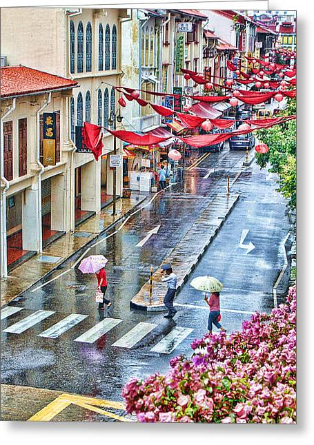 Rainy Day Singapore Greeting Card by Louise Fahy