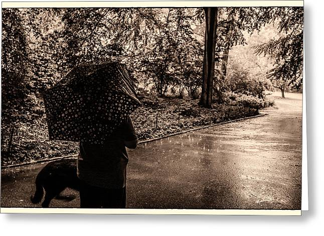 Rainy Day - Woman And Dog Greeting Card by Madeline Ellis