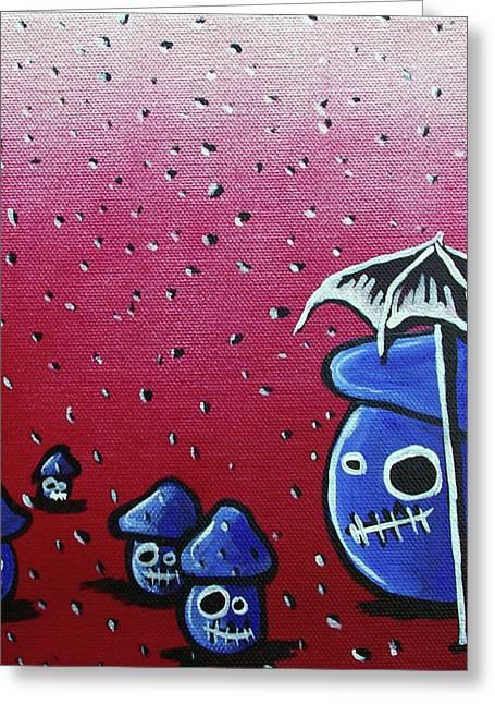 Rainy Day Zombie Mushrooms Greeting Card by Jera Sky