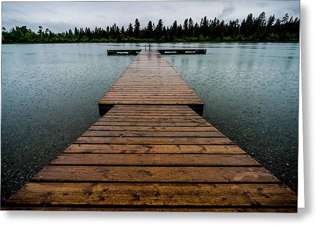 Greeting Card featuring the photograph Rainy Dock by Darcy Michaelchuk