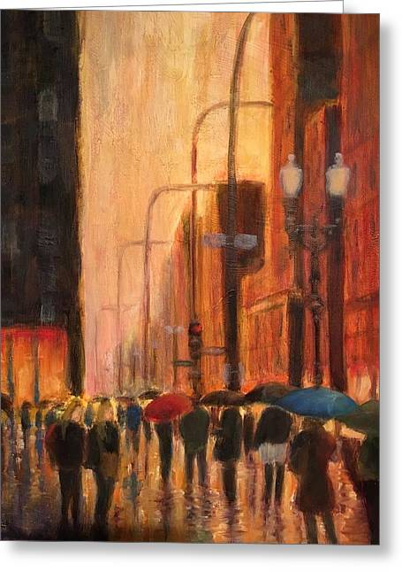 Rainy Evening Chicago Greeting Card