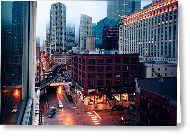 Rainy Foggy Chicago Greeting Card