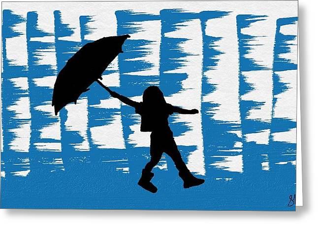 Rainy Girl Dance With Her Umbrella Greeting Card