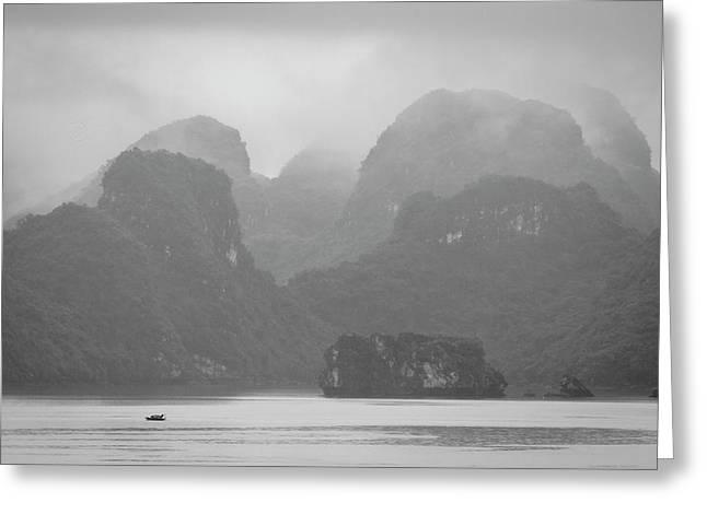 Greeting Card featuring the photograph Rainy Ha Long Bay, Ha Long, 2014 by Hitendra SINKAR