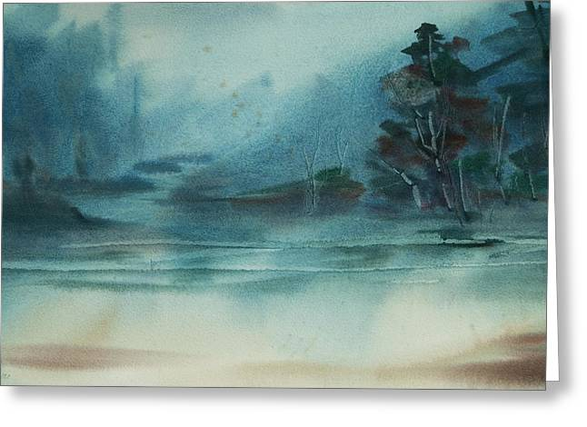 Rainy Inlet Greeting Card by Jani Freimann