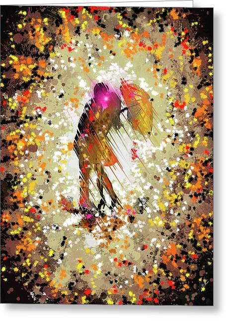 Greeting Card featuring the digital art Rainy Love by Darren Cannell