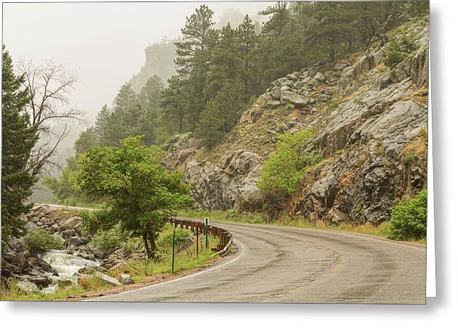 Greeting Card featuring the photograph Rainy Misty Boulder Creek And Boulder Canyon Drive by James BO Insogna