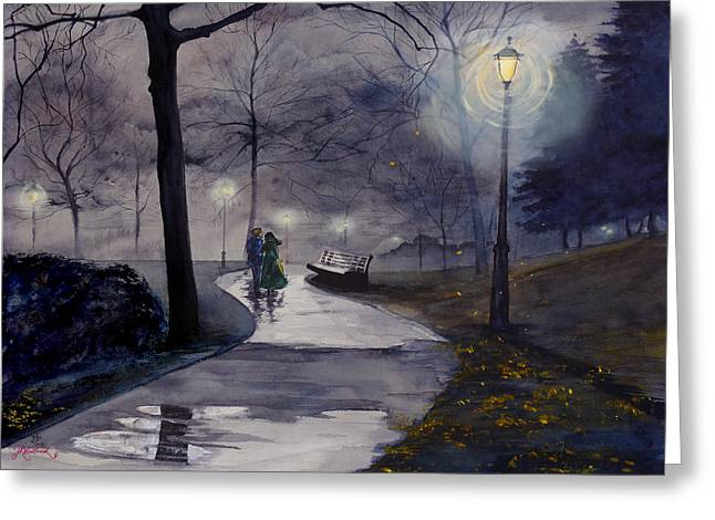 Rainy Night In Central Park Greeting Card