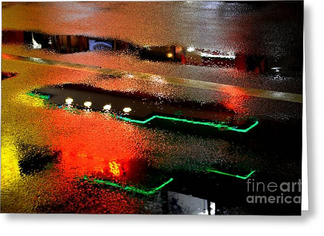 Abstract Rain Greeting Cards - Rainy Night in Chinatown Greeting Card by Dean Harte