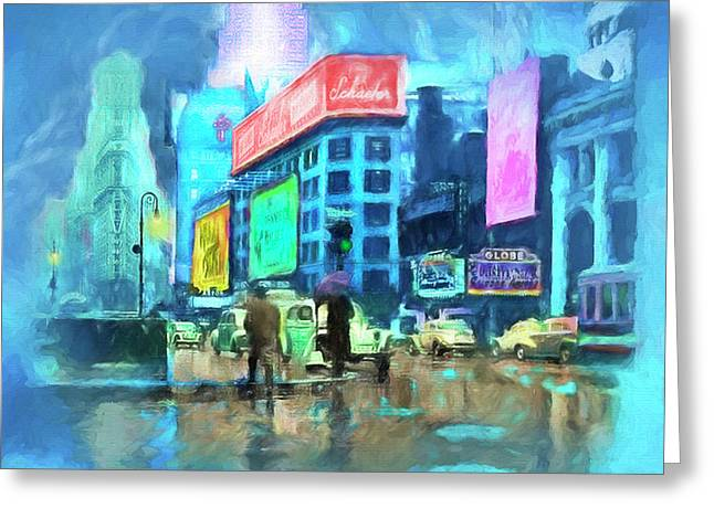 Rainy Night In New York Greeting Card