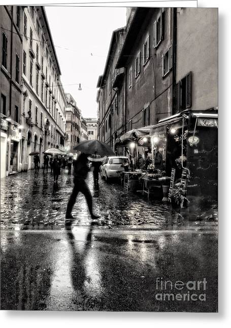 rainy night in Rome Greeting Card by HD Connelly